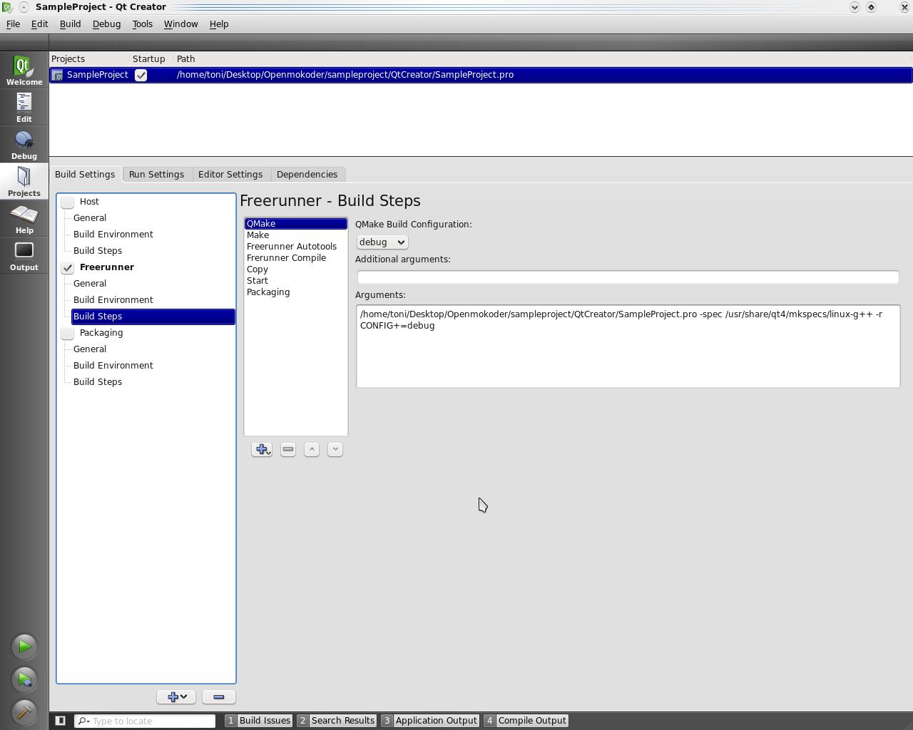 QtCreator - Openmoko