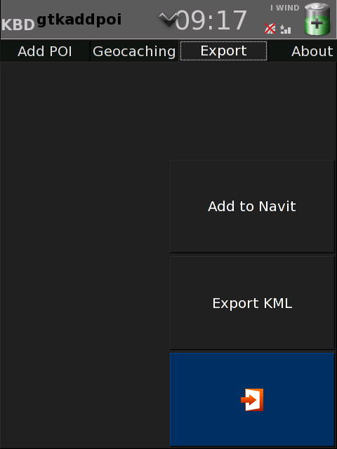 Window for select where do you want to export a POI